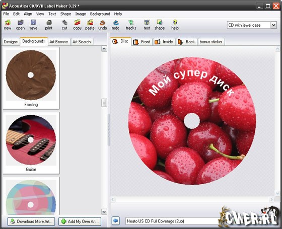 Acoustica CD\DVD Label Maker 3.29 + LightScribe