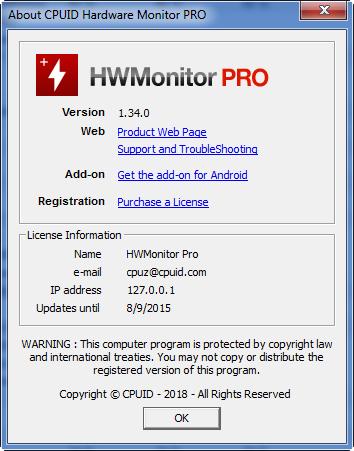HWMonitor Pro 1 34 - Система, мониторинг, HWMonitor