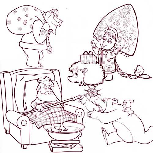 Раскраска с дедом морозом маша и медведь